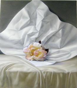 Elaine Kurie's oil, Peony on white paper