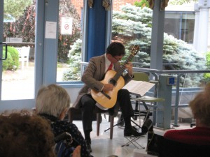 Peter Fletcher, classical guitarist, performing at Morris View