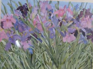 Sharon Pitts' watercolor Irises in the Garden