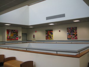 view of 4th floor, works by Mitchell Rosezweig