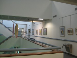 view of Sharon Pitts' watercolors, 3rd floor atrium area