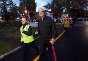 Kadie Dempsey, Morris Arts' Director of Creative Placemaking with Morristown Mayor Tim Dougherty at Morris Arts 7th Annual Pumpkin Illumination at the Vail Mansion. October 30, 2016, Morristown, NJ.