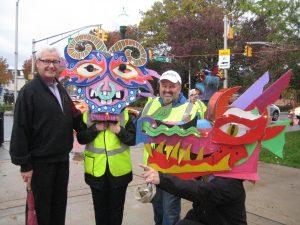 Morristown Mayor Tim Dougherty with Kadie Dempsey, Tom Werder and Dan Fenelon (kneeling)