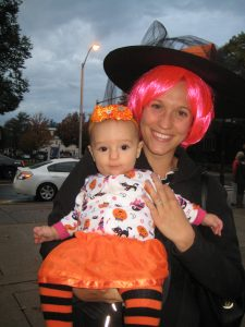 Costumed mother and child