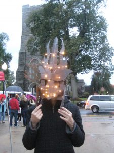 Showing off lighted mask