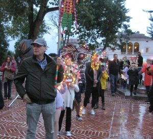 Getting luminary mask parade lined up