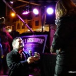 At midnight, First Night Chair Mike Schmidt asks Kaci Welsh to marry him, courtesy Morristowngreen.com