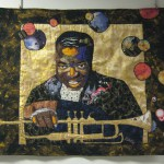 Bisa Butler art quilt: Pops! Mr. Louis Armstrong