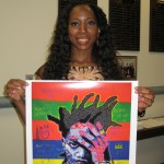Bisa Butler with poster of The Radiant One
