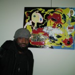 Anthony Boone with his work, Homage
