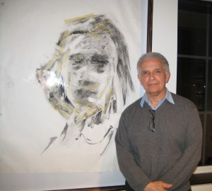 Artist Doug DePice with his piece, Truth, will she live again?