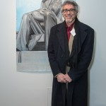 Artist Neal Korn in front of his drawing, Lincoln-Newark