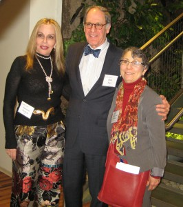 Aritsts Sassona Norton and Arlene Gale Milgram flank Curator Dick Eger