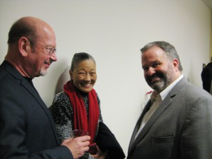 Artists Wayne Roth and Kiyomi Baird with Morris Arts' Executive Director Tom Werder