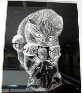 Small, NIcole Ramirez's scratchboard, Reflection (Madison)