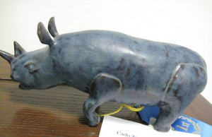 small, Carlo Zarro's stoneware and high fire glaze, Carl's Rhino (