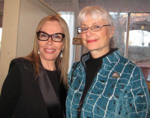 Sculptor Sassona Norton with Anne Aronovitch, former Morris Arts Executive Director