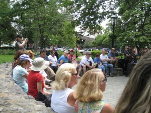 Nice crowd enjoying sunshine and Caribbean music of the Conroy Warren Duo