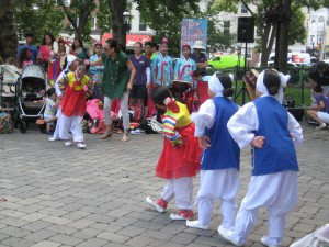 Children perform the traditional Korean Puppet Dance