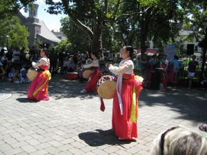 The Korean traditional drum dance