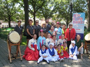 Korean Traditional Dancers (KTDOC) with Mayo Performing Arts Center and Morris Arts staff