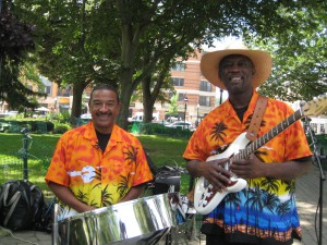 Patrick Gomes on steel pan with Conroy Warren on guitar/voice