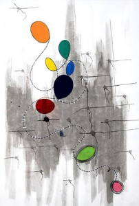 Christine Wagner's Composition VII, gouache and ink on paper