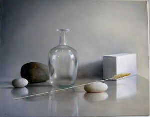 Elaine Kurie's oil, Glass Bottle with Wheat