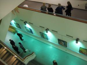 public enjoying exhibit on floors 2, 3