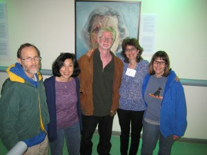 Artist Janet Boltax (w. nametag) and friends