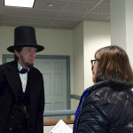 Abe Lincoln greets audiences member