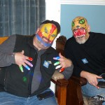 Morris Arts' Executive Director, Tom Werder with painted face and friend