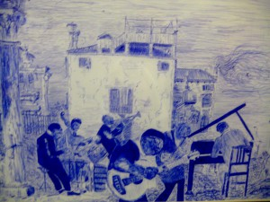 Audrey Collins' ballpoint, Canaletto meets Bearden