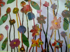 Detail from Margaret Dwyer's acrylic, Fall Garden