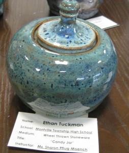 Ethan Tuckman's wheel thrown stoneware, Candy Jar