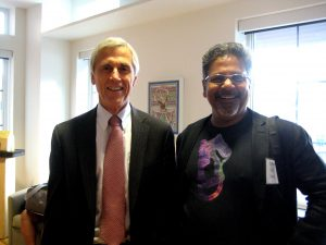 Dodge Foundation CEO Chris Daggett with light sculptor Sunil Garg