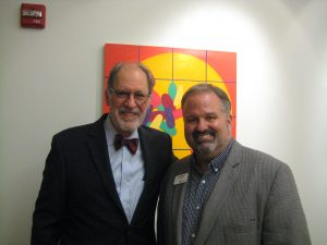 Former Morris Arts Trustee Dick Eger with Tom Werder, Morris Arts Executive Director