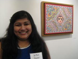 Artist Nupur Nishith with her painting