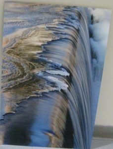Jim Somers, photo on aluminum, Ice Approaching Waterfall, Booton