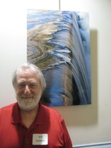 Jim Somers with his prizewinning photo,  Ice Approaching Waterfall, Boonton