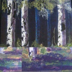 Nina Nemeth's fluid acrylic, fluid collage, NIghtfall