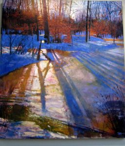 Todd Doney's oil on linen, Tree Shadows, Feb. 8, 5:15pm