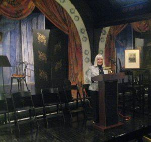 Dr. Siebert at Evergreen House lectern
