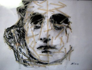 small, Doug DePice's Portrait of Anne Frank, white with tape