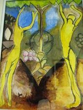 small, Jordan Seagrave's watercolor & Graphite, After Duchamps