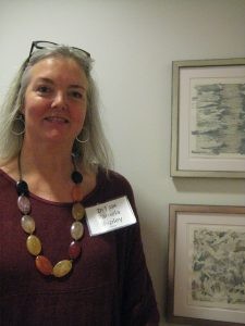 Artist Pamela Shipley with her works